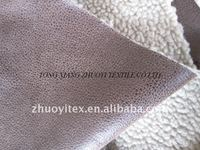hot sale suede bonded with sherpa fleece fabric