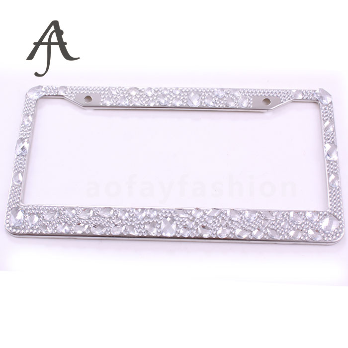 Custom Logo US Standard Clear Diamond-encrusted License Plate Holder