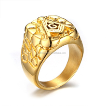 Charming Stainless Steel 18K Gold Plated Masonic Chanpionship Ring Gold Wholesale