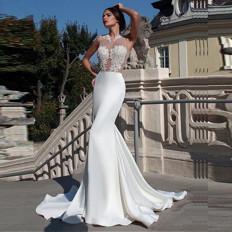 ON317 New Arrival Sexy Wedding Dresses <strong>O</strong>-neck Sleeveless Top Part Lace Satin Skirt Mermaid Wedding Gowns with Sweep Train