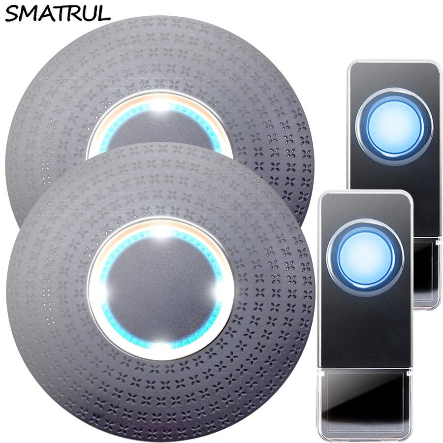 SMATRUL New Waterproof Wireless Doorbell EU Plug 300M Remote smart Door Bell Chime ring 2 button 2 receiver no battery Deaf Gorgeous lighting black