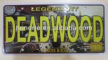 deadwood fancy embossed number car license plates