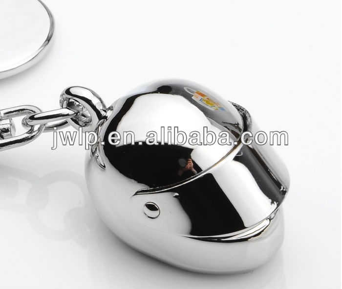 creative metal motorbike helmet zine alloy key ring chain