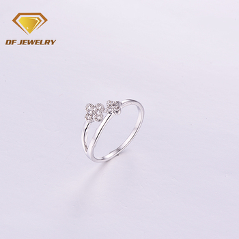 High quality light weight new model brass flower stone ring for lady