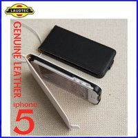 2012 New Genuine Leather Slim Case for Apple iPhone 5 5G 5th,flip case cover,100% Perfect fit-----Laudtec