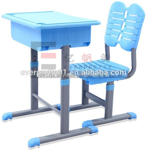 Preschool children writing table and chair, kids single study table with bunk drawers