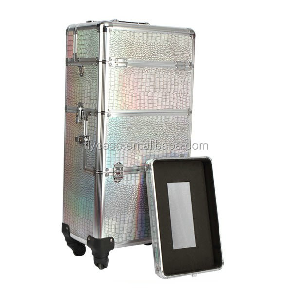 <strong>ABS</strong>/PVC/PU leather aluminum trolley case for tool transportation,aluminum carrying case with wheels