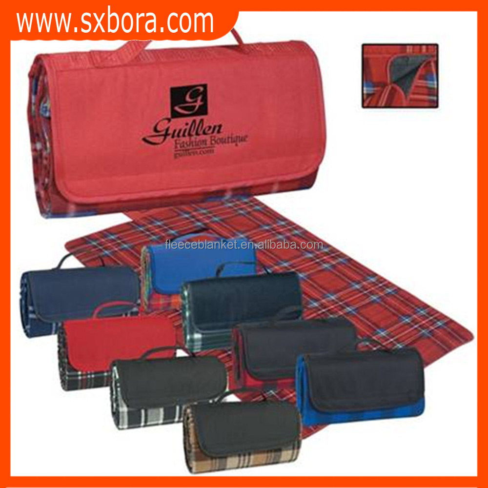 promotional plaid printed picnic polar fleece blanket