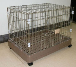 dog crate plastic tray FC-2202P folding storage crate Petwant with optional wheels and food tray