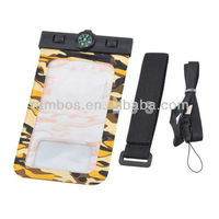 Camouflage Cell Phone Waterproof Pouch Cover Case Skin 5.5 inch with Compass
