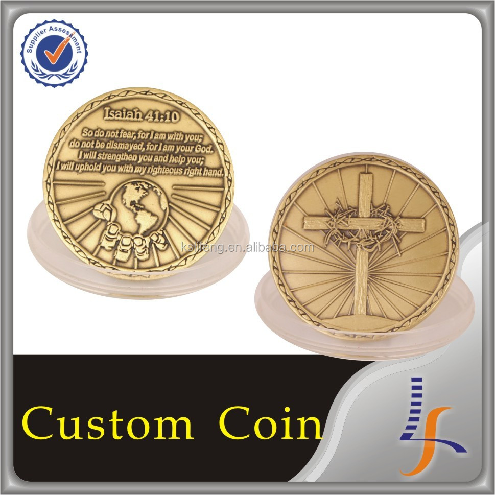Antique Old gold coins with design of collectibles statues