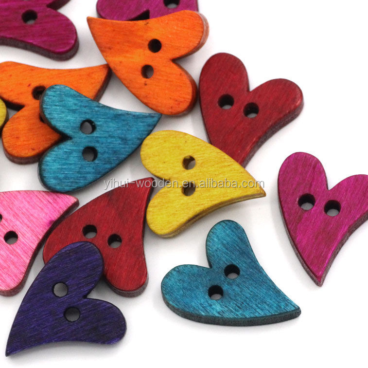 Colored and Painting Wood Heart Crafts Pattern Shape