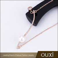 2017 New Style Europe Popular Long Gold Chain AAA Diamond CZ Pearl Fashion Necklace