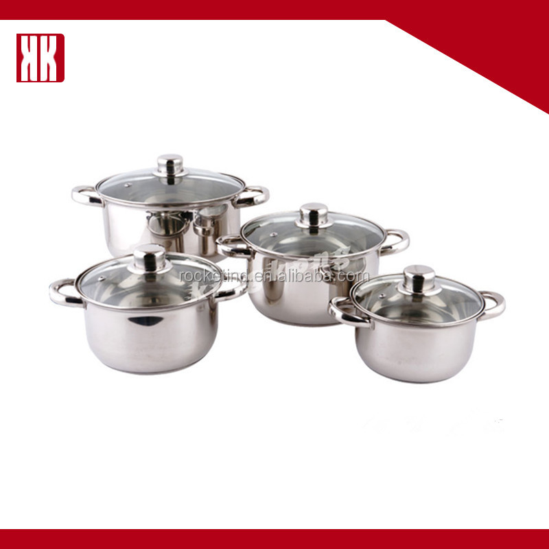 China Supplier Stainless Steel Metal Belly Shape 8PCS Cookware