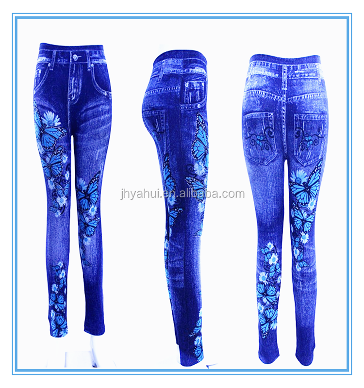 Girls rhinestone butterfly print denim jegging fake jean legging