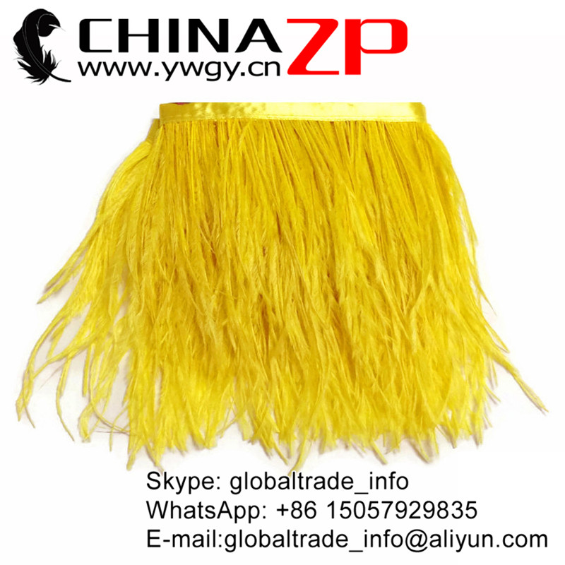 ZPDECOR Factory Wholesale Feather size 5-6 inch 1 yard Strip Two Ply Dyed Bulk Yellow Ostrich Feathers Fringe Trim