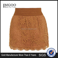 Wholesale OEM Services Crochet Mini Skirt For Ladies Lace Brown Mini Skirts With Wide Stretch Waistband
