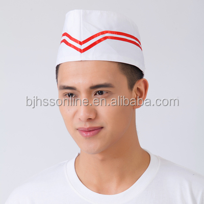 Unisex double red blue line cotton caps and forage chef hats,caps cook