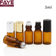 Empty oem 3ml amber glass roll on perfume bottle