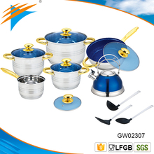 15PC Stainless Steel Caucepan Casserole Frypan Kettle and Nylon Tools Cookware Set