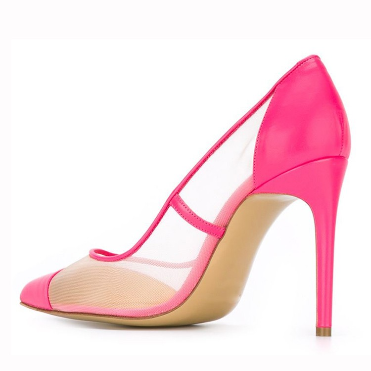 Fashion sexy pink and clear mesh high heel shoes women dress pump shoes
