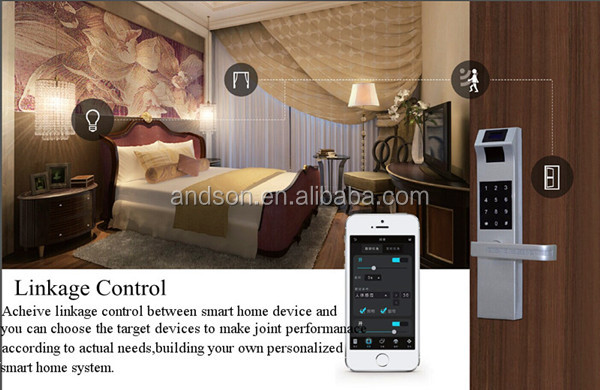 smart home door lock with key card password finger print RFID NFC for smart security remote control by App anywhere