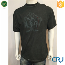 New model summer stone wash men's t-shirt with silk scren printing
