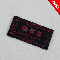 Fancy factory directly black ground hook side woven label with private logo for apparel/shoes/bag/toy
