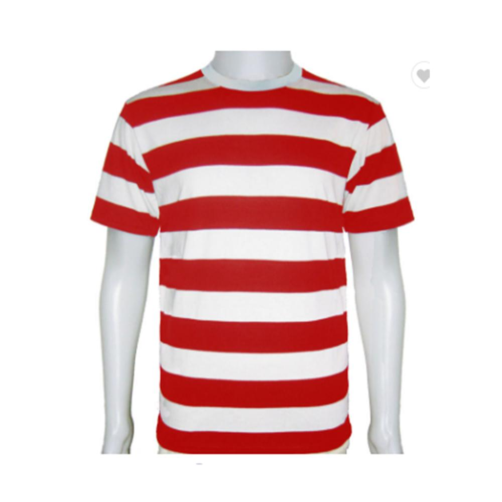 Latest Design Classical Cotton Short Sleeve Red And White O Neck Casual Striped Tshirt For Adults