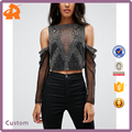 Hip Hot Night Club Trophy Embellished Sexy Crop Top with Cold Shoulder and Lace Long Sleeve