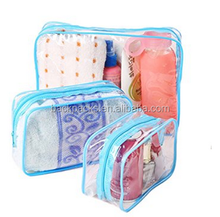 3Pcs Waterproof CLear Hand Pouch Bag With Zipper For Cosmetic Wash Versatile Storage