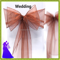 Fancy crystal cheap organza chair sash for wedding decoration