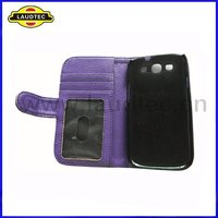 Lichee Pattern Wallet Leather Case for Samsung Galaxy S3 i9300, 3 Slots for Cards, 1 Slot for Money Flip Cover Laudtec
