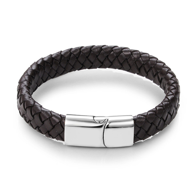 Punk Men Jewelry Black/Brown Braided Leather Bracelet Stainless Steel Magnetic Clasp Fashion Bangles