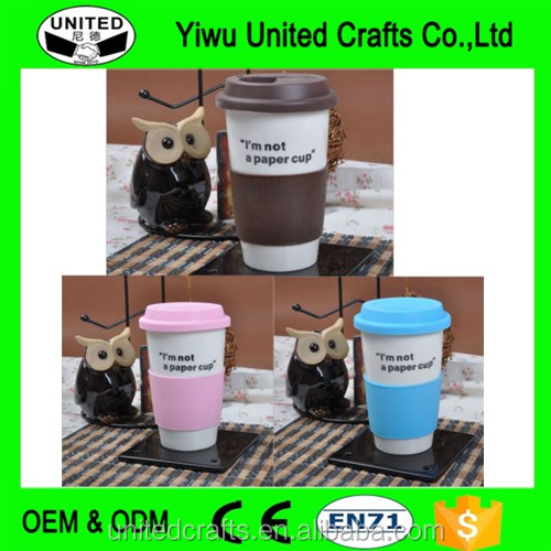 Ceramic Take Away Travel with Silicone Lid Insulated Thermal Coffee Tea Mug Cup