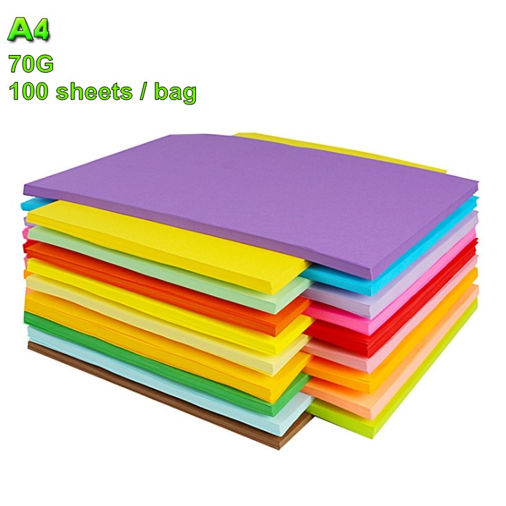 100 sheets Colorful 70G A4 Print Copy Paper Hand-off Drawing Paper Office Supplies Colored Paper
