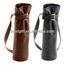Popular easy carry cow leather single wine carrier single wine tote single wine bag with shoulder strap