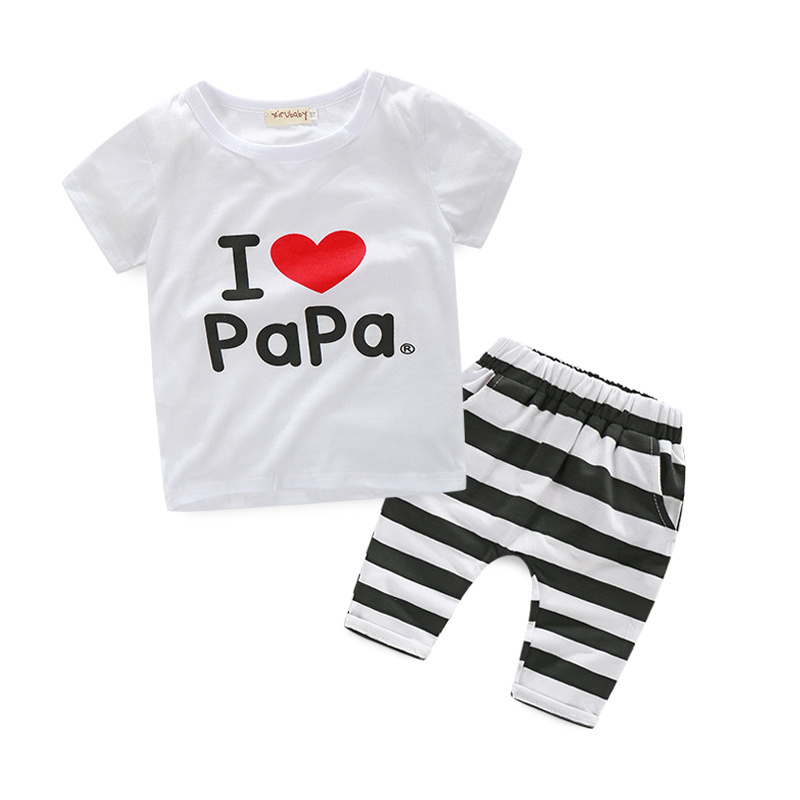 Summer love alphabet pattern baby boys clothing sets cotton tracksuit