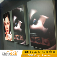 backlit led poster aluminum frameless fabric/silk light box with drilled holl installation