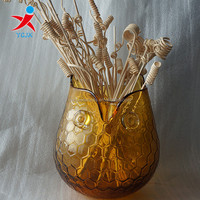 wholesale cheap antique animal shaped yellow colored glass vase
