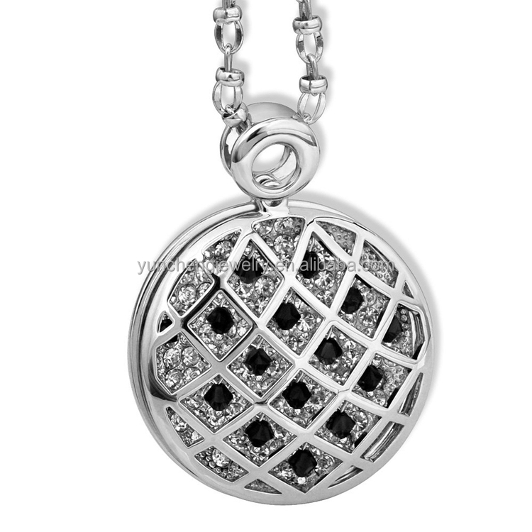 YCP7087 925 Sterling Silver Coin Necklace with White CZ Hollow Style