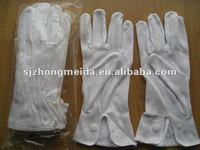 white uniform cotton gloves with button