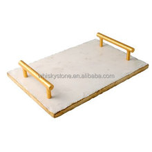 High quality marble dinner plates with metal handle , serving for bread ,fruit , cheese etc