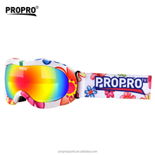 Custom Multi Color Frame Child & Kids Ski Goggles Anti Fog Snow Goggles Double Lens and UV Eyes Protective