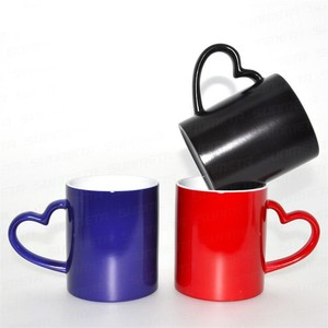 Creative Heat Transfer Coating Cup Heart Shape Handle Ceramic Coffee Mug