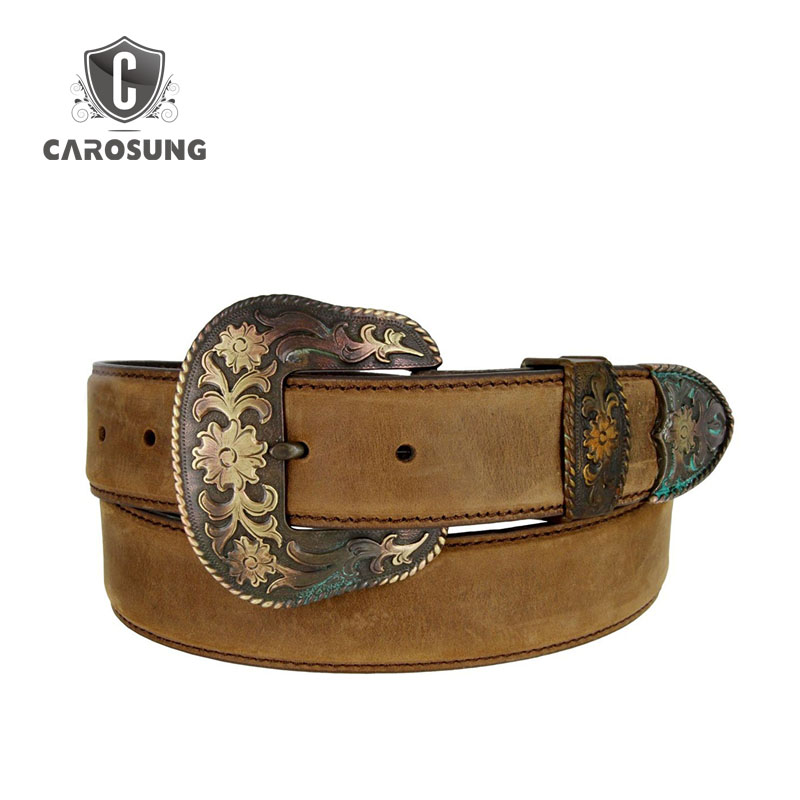 Top Quality Special Classical Belt For Men With Flower Pattern Buckle