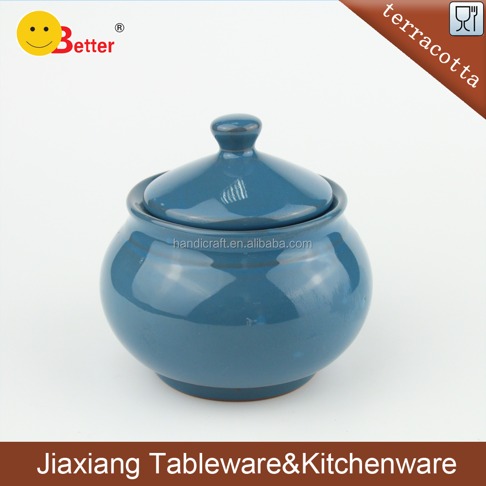 2017 Terracotta Clay Large Fermenting Crock Blue glazed Ceramic Pickle Jar For Table ware