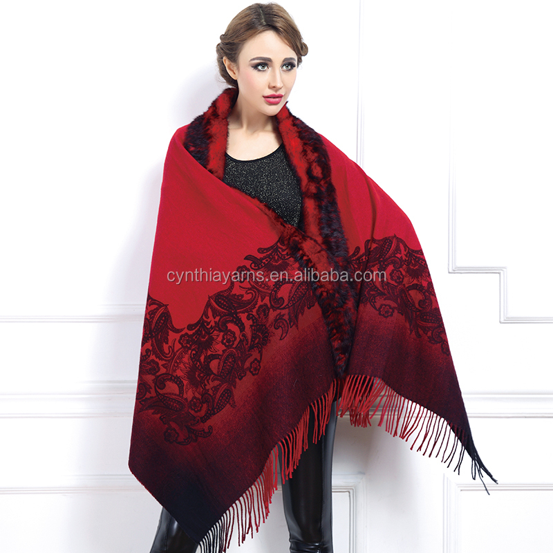 2016 wholesale winter wool shawl with fox fur and fur