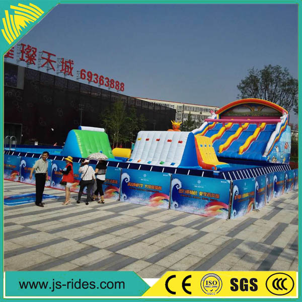 Commercial giant inflatable water slide with pool made of 0.55mm pvc