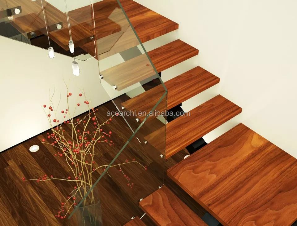 Best selling decorative indoor acacia wood stair treads for modern single stringer wood stairs